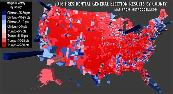 The Genius And Necessity Of The Electoral College - 2016 us electoral map by county
